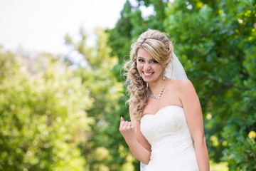 Laughing elegant bride