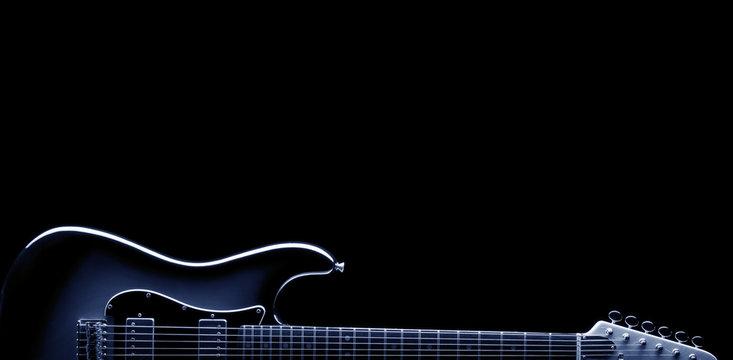 blues electric guitar on black