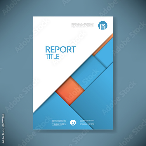 u0026quot business report cover template on blue material design background  brochure or presentation