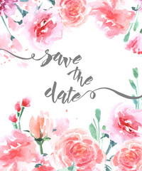 Save The Date with watercolor rose. Wedding Invitation Card (Use for Boarding Pass, invitations, thank you card.) Template Vector.