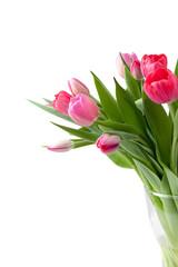 bouquet of pink tulips in vase