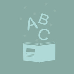 Logotypes for school, back to school,  kids book club, bookstore, book festival. learning concept. Literature illustration.