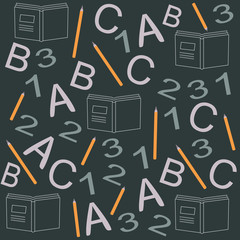 seamless pattern with books icons, pens, numbers, letters