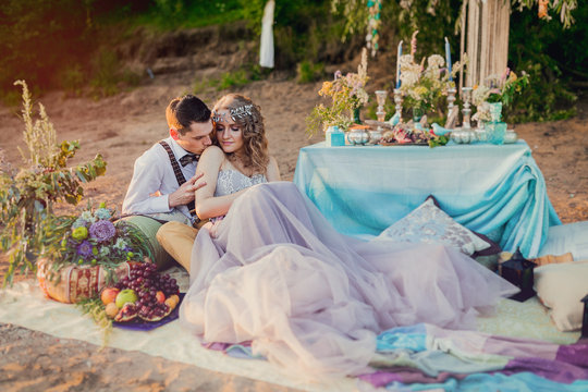 Boho chic couple in love the bride and groom. Wedding inspiratio