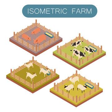 Isometric farm animals set