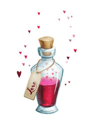 Love potion icon on white isolated