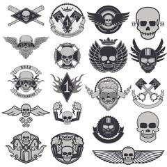 Set of biker labels and emblems