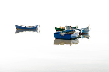 Fishing boats flying on the water. / Sardinia Lagoon Bruncu and Teula, southwest coast. Overexposure accentuated.