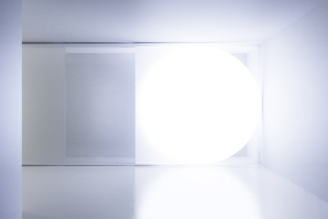 Big white glowing circle in white empty room