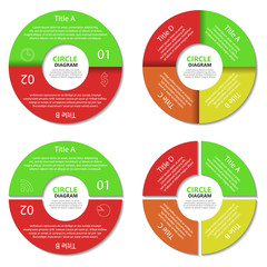 Set of circle diagram. Business concept with two and four options. Round infographic. Vector EPS10