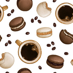 Coffee & Macarons set seamless pattern on white isolated