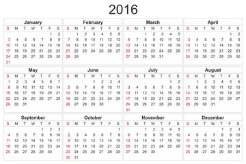Calendar for 2016 on White Background