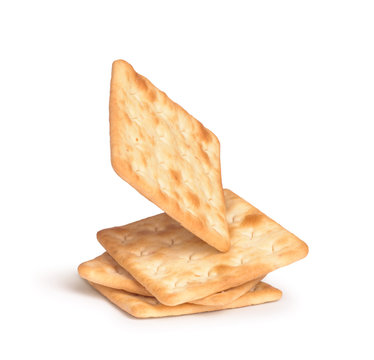 the falling stack of square crackers isolated on white backgroun