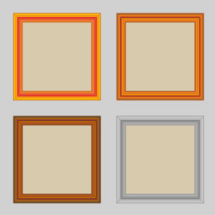 Set of square wooden frames