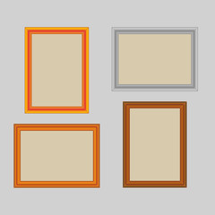 Set of rectangle wooden frames