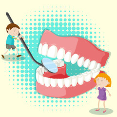 Boy and girl looking at clean teeth