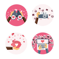 Vector illustration. Flat background with binoculars, laptop, piggy bank, photocamera, photos . Love, hearts. Valentines day. Be my valentine. 14 february.