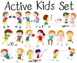 Set of children doing different activities