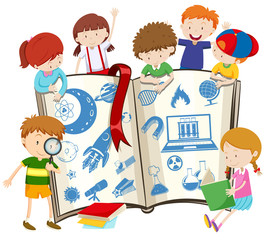 Science book and children