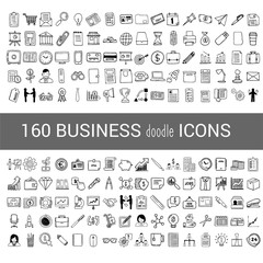 160 business doodle icon for your infographic