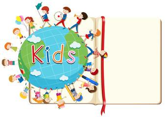 Blank book and kids around the world