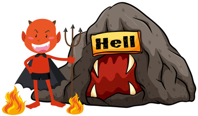 Devil with trident in hell