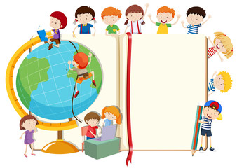 Children with globe and book