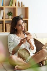 Pretty female knitting