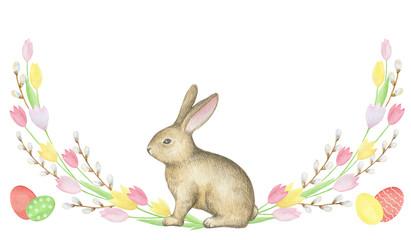 Watercolor Easter wreath.
