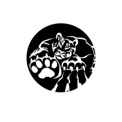 Tiger - paw print . Animal footprint isolated on white background. Vector illustration. Design element.