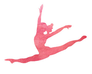 Poster Gymnastiek Pink Watercolor Dancer or Gymnast Dance Gymnastics Split Leap Illustration