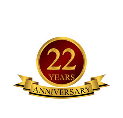 22 anniversary with red golden ring and ribbon
