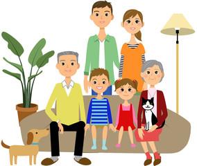 ソファー くつろぐ 三世代家族