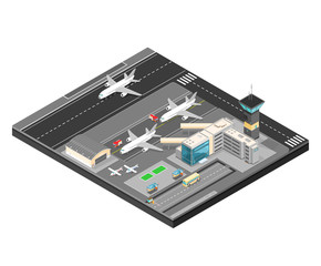 Isometric Airport with planes terminal and public transport. 