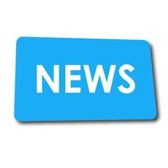 Icono plano NEWS en rectangulo azul con sombra