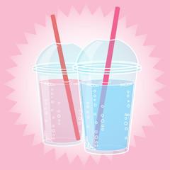Smoothie, Bubble Tea or Milk Cocktail design in pop art comic style, vector illustration