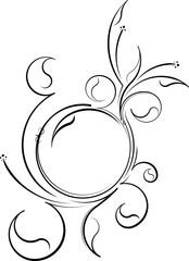 Round floral blossom. Vintage frame for your design. Vector illu