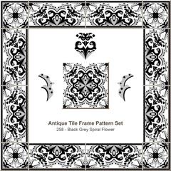 Antique tile frame pattern set_258 Black Grey Spiral Flower