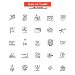 Flat Line Icons- Banking and finance