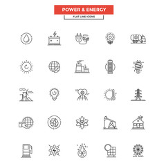 Flat Line  Icons- Power and Energy