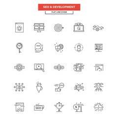 Flat Line Icons- SEO and Development