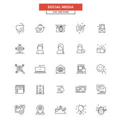 Flat Line  Icons- Social media
