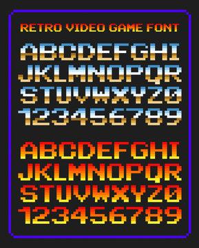 Lettres et chiffres jeu vidéo rétro