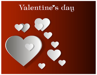Paper hearts Valentines day card on red background. Vector abstract background with hearts. Paper hearts cut from paper.