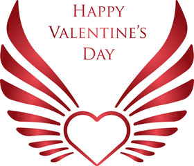 """Valentine's decor with heart, wings and caption """"Happy Valentine's Day"""""""