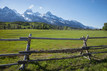 Horse ranch field and fence below Grand Teton mountains of Wyomi Wall mural