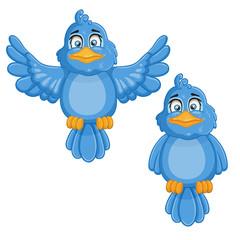 Illustration of cute cartoon birds.