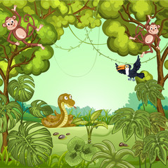 Illustration of cartoon animals in the jungle. Monkey ,toucan and snake.