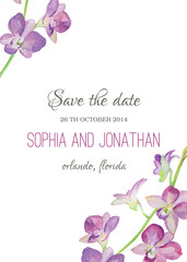 Wedding invitation watercolor with orchid flowers.