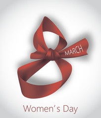 8 March. Woman's Day card with red 8-shaped ribbon